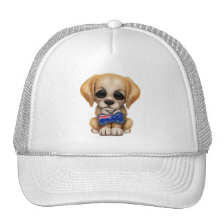 Cute Puppy with New Zealand Flag Dog Tag Cap