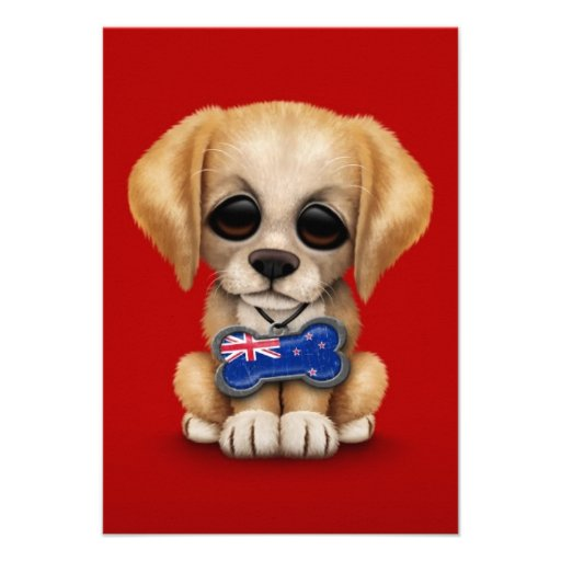 Cute Puppy with New Zealand Flag Tag, red Personalized Announcement