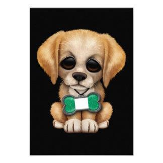 Cute Puppy with Nigerian Flag Dog Tag black Announcement