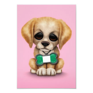 Cute Puppy with Nigerian Flag Dog Tag, pink Personalized Invites