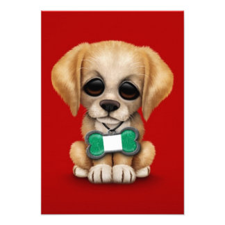Cute Puppy with Nigerian Flag Dog Tag red Announcement
