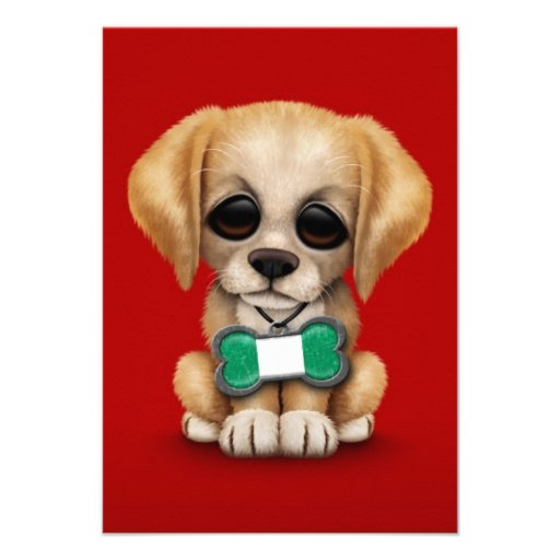 Cute Puppy with Nigerian Flag Dog Tag, red Announcement