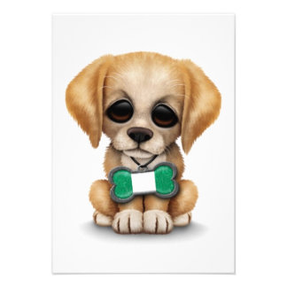 Cute Puppy with Nigerian Flag Dog Tag white Custom Invitations