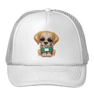 Cute Puppy with Nigerian Flag Pet Tag Trucker Hat