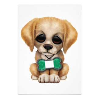 Cute Puppy with Nigerian Flag Pet Tag Invite