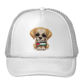 Cute Puppy with Palestinian Flag Dog Tag Cap