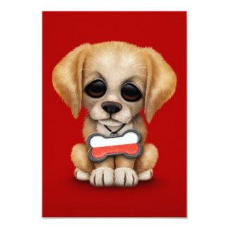Cute Puppy with Polish Flag Dog Tag, red 9 Cm X 13 Cm Invitation Card