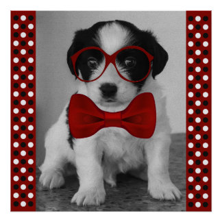 Cute Puppy with Red Bow Tie and Glasses Poster