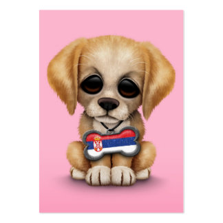 Cute Puppy with Serbian Flag Dog Tag, pink Business Card Templates