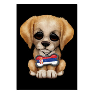 Cute Puppy with Serbian Flag Dog Tag, teal Business Card