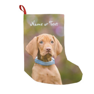 Cute puppyeyed Hungarian Vizsla Dog Puppy - Name Small Christmas Stocking