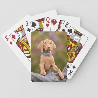 """Cute puppyeyed Hungarian Vizsla Dog Puppy Photo /"""" Playing Cards"""