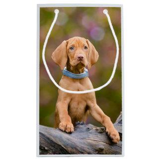 Cute puppyeyed Hungarian Vizsla Dog Puppy Photo /- Small Gift Bag