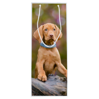 Cute puppyeyed Hungarian Vizsla Dog Puppy Photo __ Wine Gift Bag