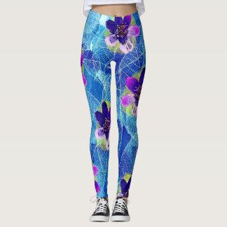 Cute Purple and Blue Artsy Floral Pattern Leggings
