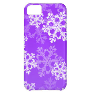 Cute purple and white Christmas snowflakes iPhone 5C Case