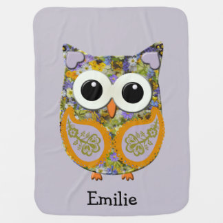 Cute Purple and Yellow Floral Owl Blanket Buggy Blankets