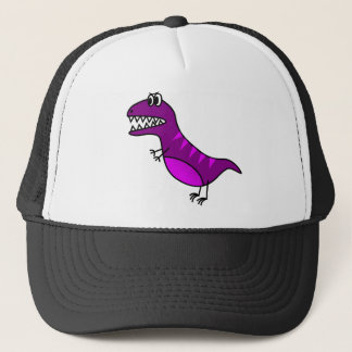 Cute purple angry cartoon dinosaur trucker hat