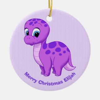 Cute Purple Baby Brontosaurus Dinosaur Christmas Ornament