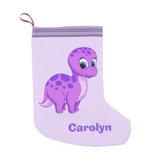Cute Purple Baby Brontosaurus Dinosaur Small Christmas Stocking