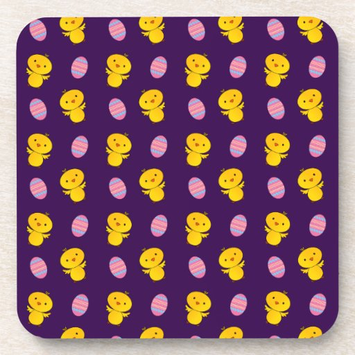 Cute purple baby chick easter pattern beverage coasters