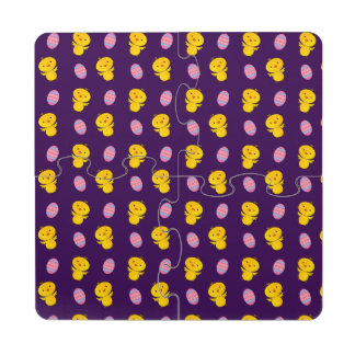 Cute purple baby chick easter pattern puzzle coaster