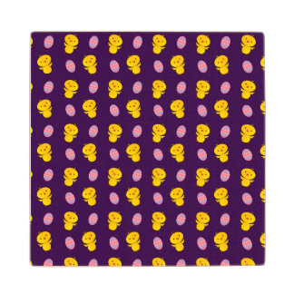 Cute purple baby chick easter pattern wood coaster