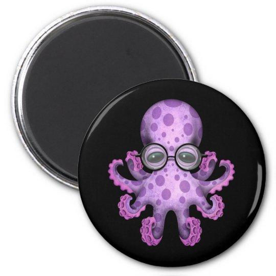 Cute Purple Baby Octopus Wearing Glasses on Black 6 Cm Round Magnet