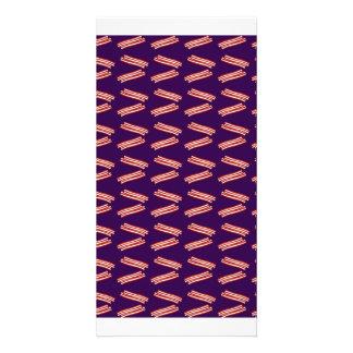 Cute purple bacon pattern customized photo card