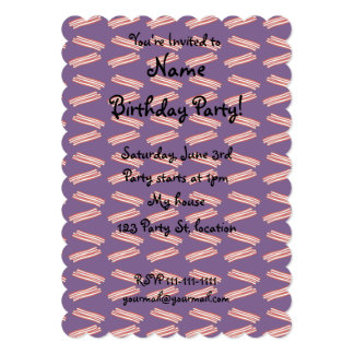Cute purple bacon pattern 5x7 paper invitation card