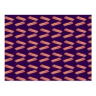 Cute purple bacon pattern postcard