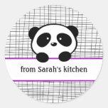 Cute Purple Black Panda Canning Stickers