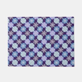 Cute Purple Blue  Snowflakes Winter Season Pattern Doormat
