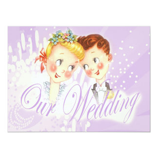 Cute Purple Bride & Groom Wedding Invitation