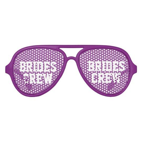 Cute purple brides crew bachelorette party shades