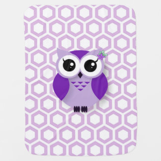 Cute purple cartoon owl honeycomb background buggy blanket