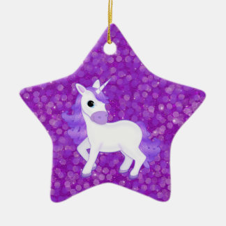 Cute Purple Cartoon Unicorn on Glitter Pattern Christmas Ornament