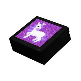 Cute Purple Cartoon Unicorn on Glitter Pattern Gift Box