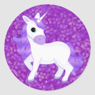 Cute Purple Cartoon Unicorn on Glitter Pattern Round Sticker
