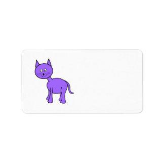 Cute Purple Cat Cartoon. Address Label