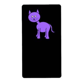 Cute Purple Cat. Cat Cartoon on Black.