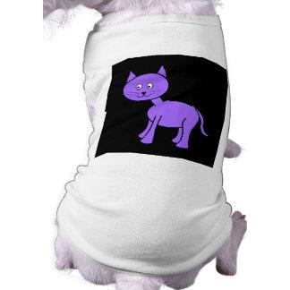 Cute Purple Cat. Cat Cartoon on Black. Pet Tee Shirt