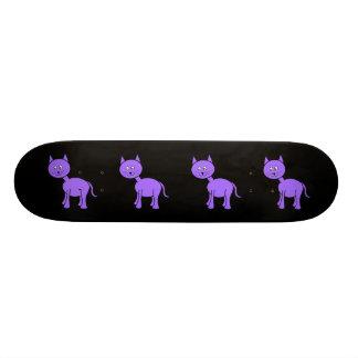 Cute Purple Cat. Cat Cartoon on Black. Skateboard