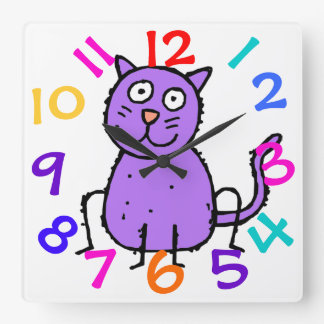 Cute Purple Cat Design Clock For Kids Room