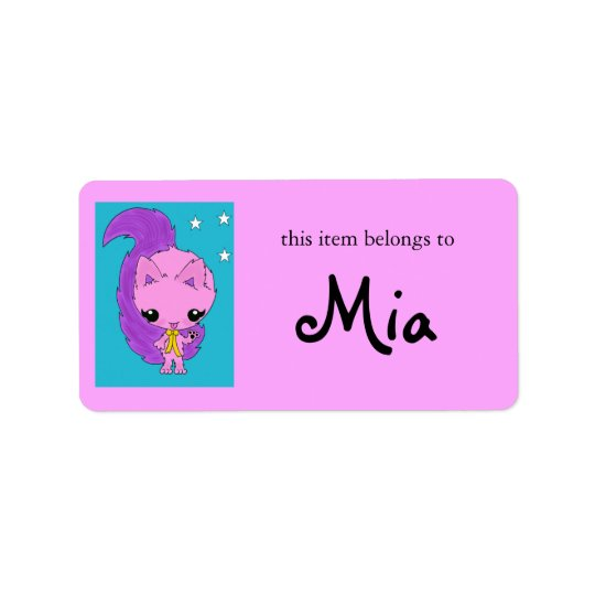Cute purple cat kawaii kitten labels