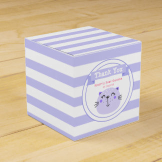 Cute Purple Cat | Lilac Baby Shower 'Thank You' Favour Box