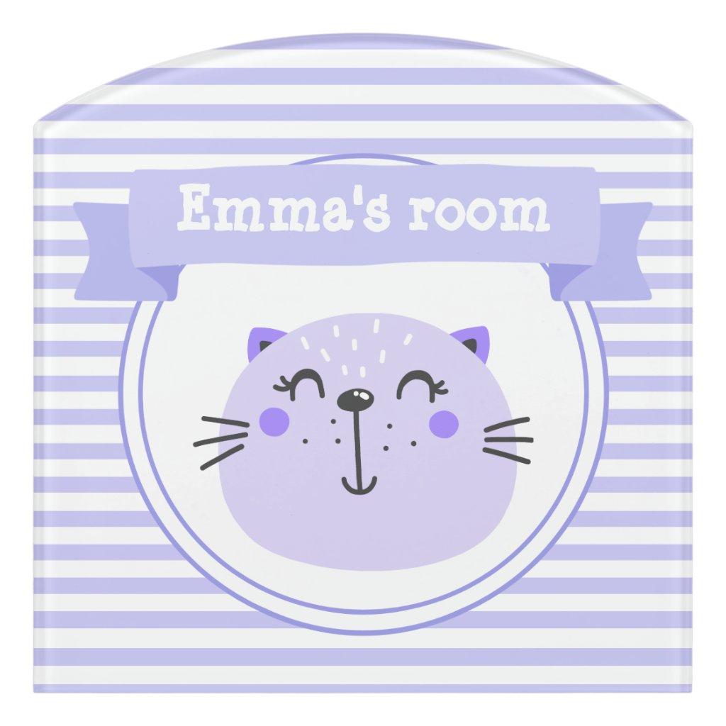 Cute Purple Cat   Personalised Lilac Striped Kids Door Sign