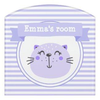 Cute Purple Cat | Personalised Lilac Striped Kids Door Sign