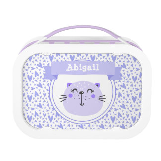 Cute Purple Cat | Personalized Lilac Hearts Lunch Box