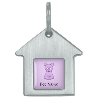 Cute Purple Cat. Pet Name Tag